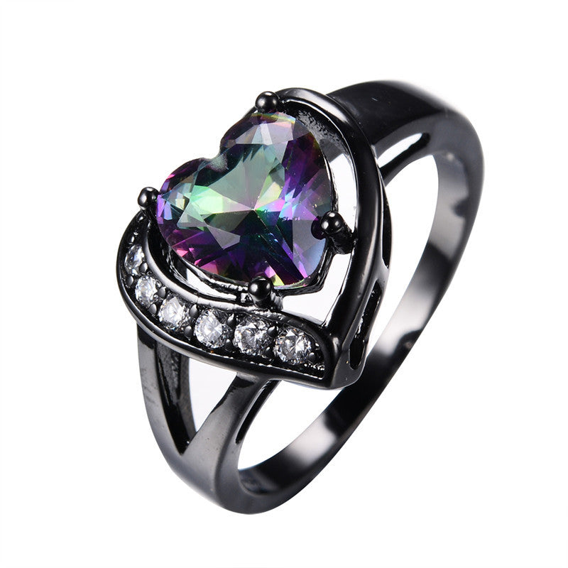 Charming Heart Mystic Topaz Ring