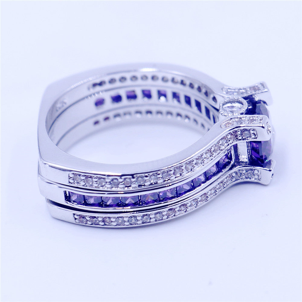 3-Tiered 2 Piece Amethyst Diamond Engagement Ring