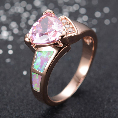 Pink Tourmaline Opal Heart Ring