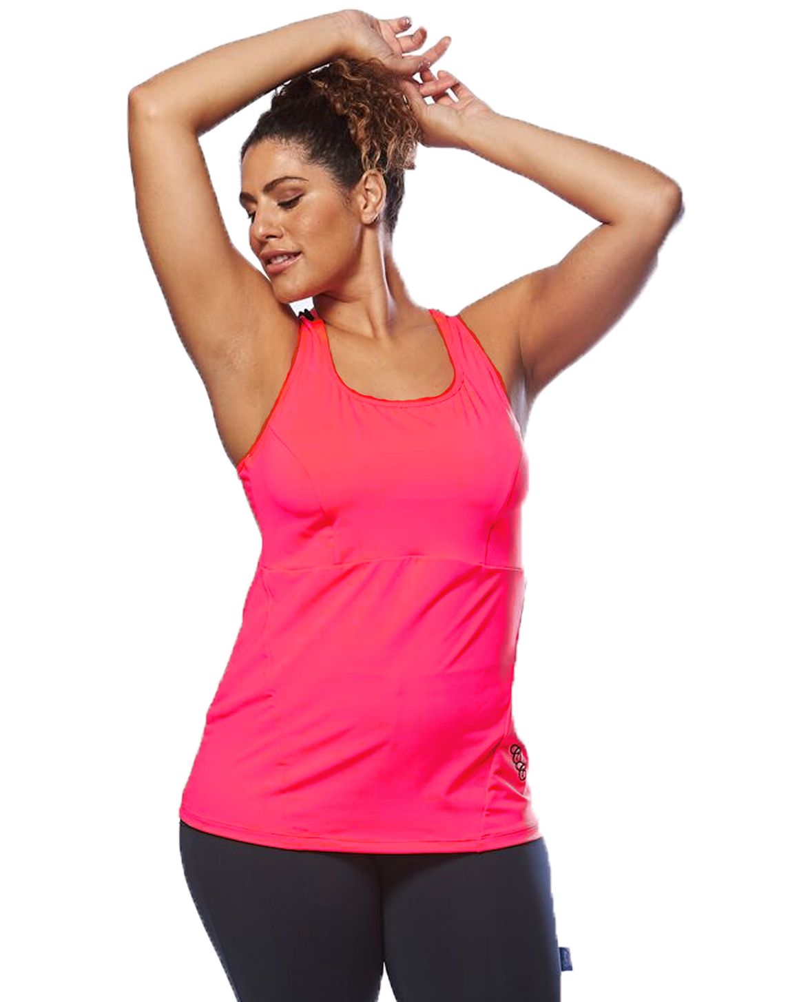 Action Back Tank - gorgeous in coral. Curvy Chic Sports Size 14-26 sportswear.