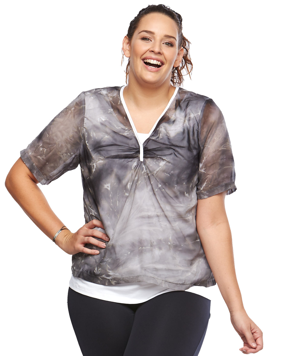 Double Tee Sports Top | Plus Size Activewear