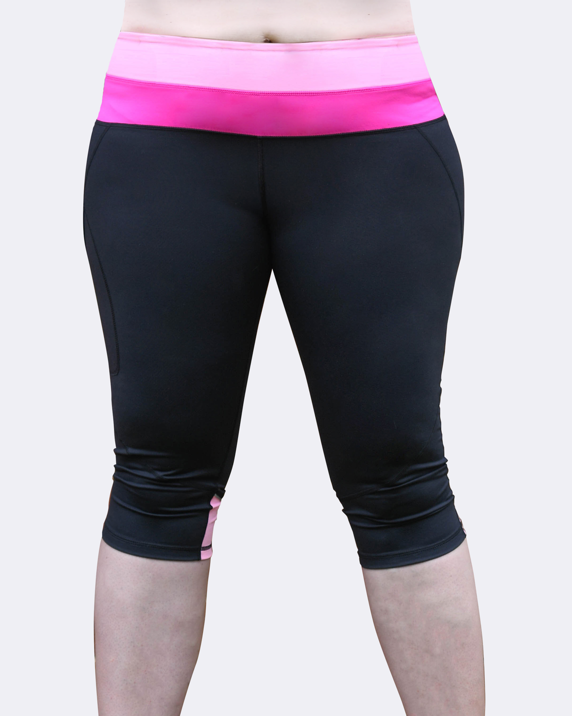 Front View Pink 2 Tone Tights | Mid Rise Plus Size Tights