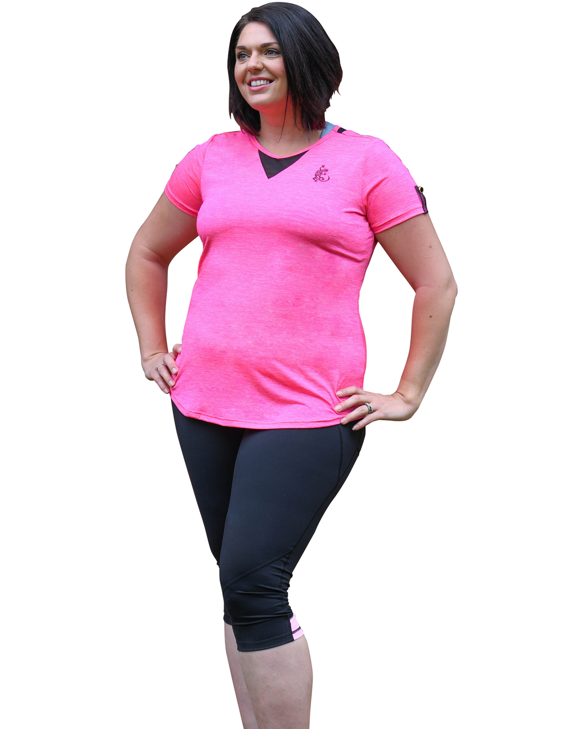 Look great in these 2 tone pink plus size women's tights.