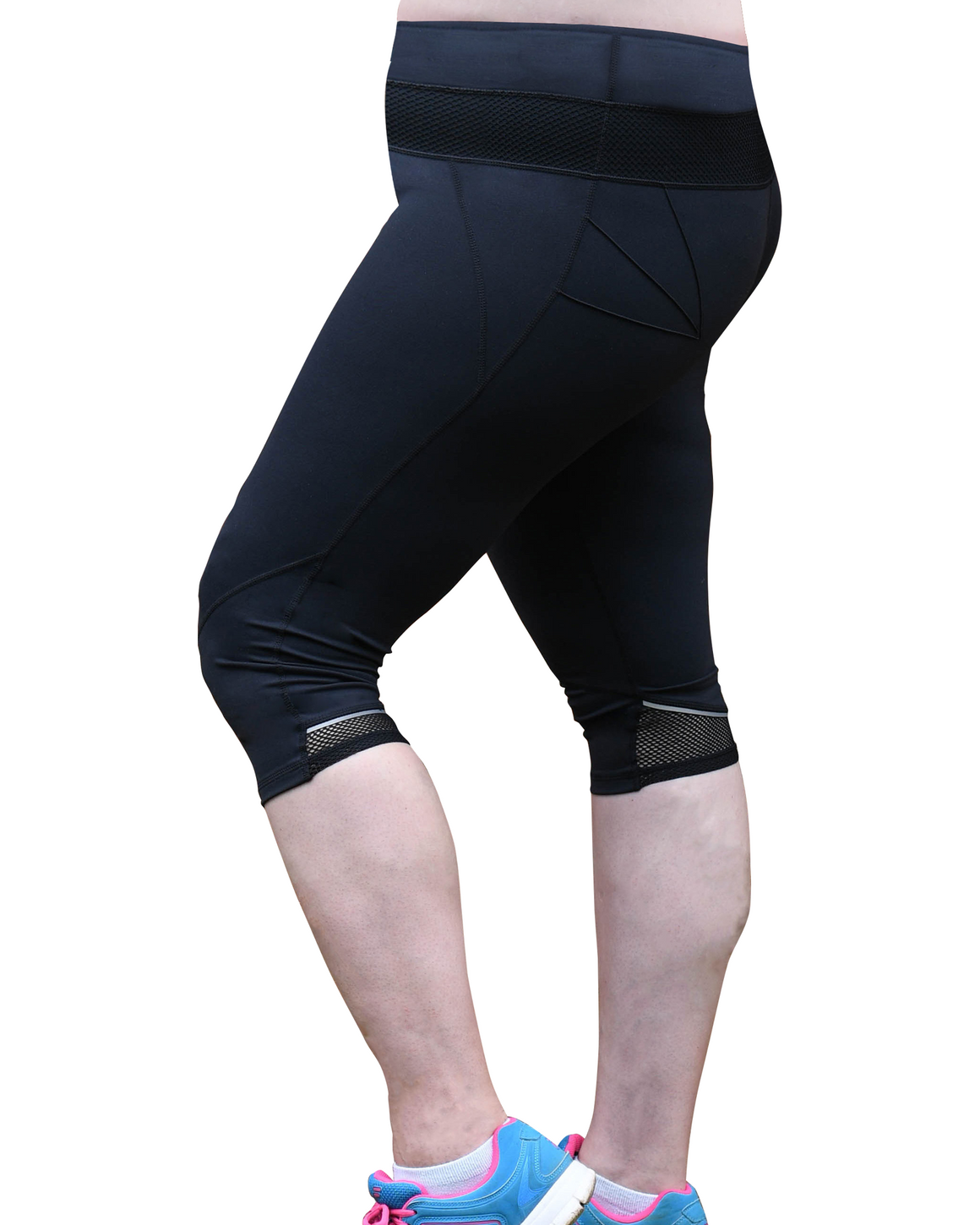 Left Side Mesh Sculpt Pocket Tights | Plus Size Tights | Lowanna