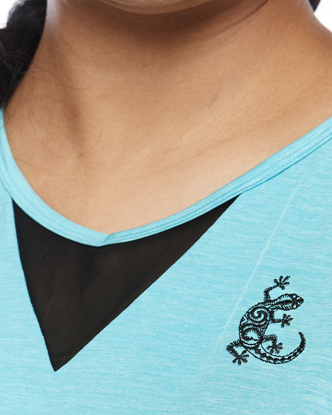 Embroidery and mesh insert detail Zest Short Sleeve Sports Top for Plus Size from Lowanna Australia