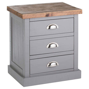 Byland 3 Drawer Bedside Table - Grey