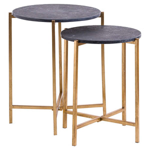Marble Side Tables 2 Set - Gold/Black
