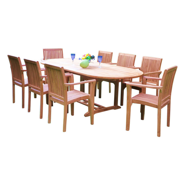 Oval Extending 180/240cm Table Set with Stacking Chairs
