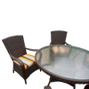 Brown Rattan Round 120cm Table Set with 4 Chairs & Luxury Outdoor Performance  Cushions