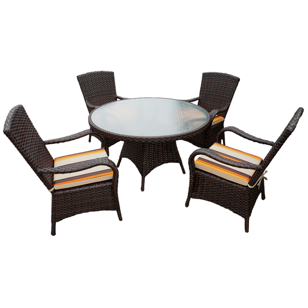 Excellent Brown Rattan Round 120Cm Table Set With 4 Chairs Luxury Outdoor Performance Cushions Ibusinesslaw Wood Chair Design Ideas Ibusinesslaworg