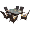 Brown Rattan Oval 180cm Table Set with 6 Chairs & Luxury Outdoor Performance  Cushions