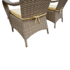 Beige Rattan Round 120cm Table Set with 4 Chairs & Luxury Outdoor Performance  Cushions
