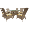 Beige Rattan Oval 180cm Table Set with 6 Chairs & Luxury Outdoor Performance  Cushions