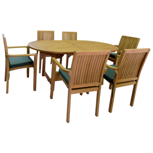 Oval Single Extending 180/240cm Table Set with Stacking Chairs