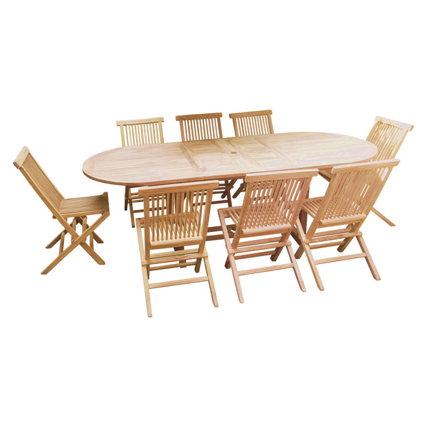 Oval Double Extending 180/240cm Table Set with Folding Chairs