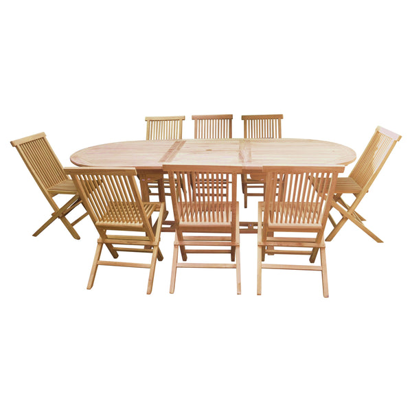 Oval Double Extending 180/240cm Table Set with Hanton Folding Chairs
