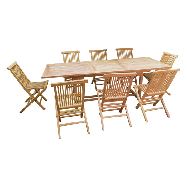 Rectangle Extending 180/240cm Table Set with Folding Chairs