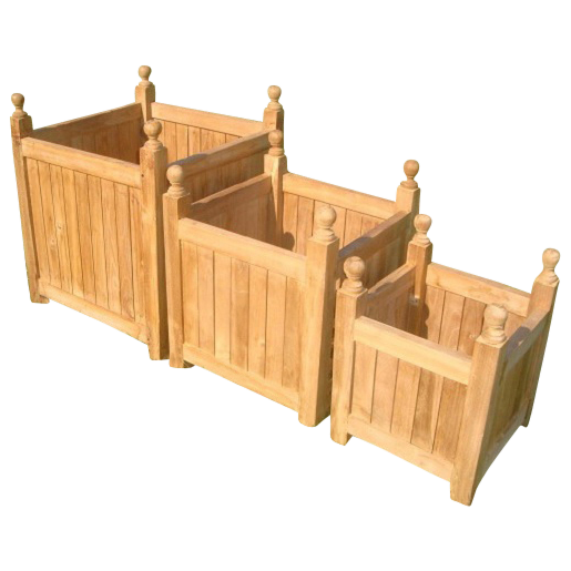 Teak Garden Pot Planter Complete Set