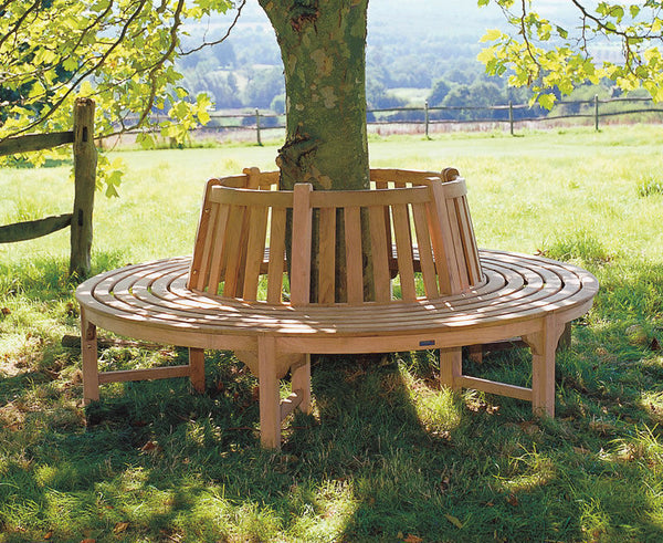 Teak Tree Bench Round to fit 1 Metre Tree Base Three Sections