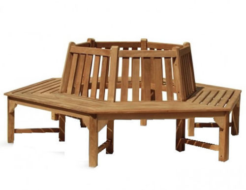 Teak Tree Bench Hex to fit 1 Metre Tree Base Three Sections