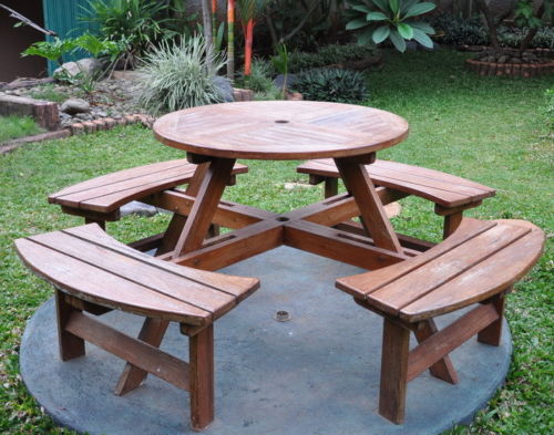 Teak Family Picnic Round Table &  Bench Seat
