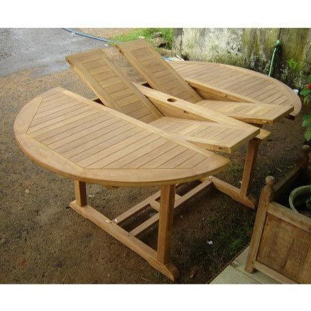 4-6 Seat 1.7m Teak Double Extending Oval Round Garden Table