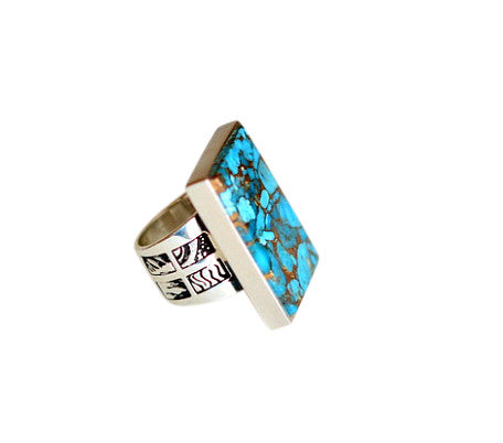 Peacock Collection - Metal Matrix Turquoise  Ring