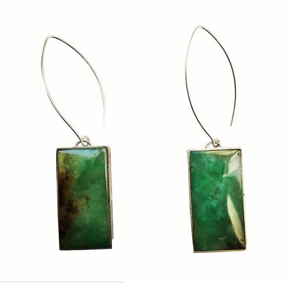 Peacock Collection -  Green Chrysoprase Earrings