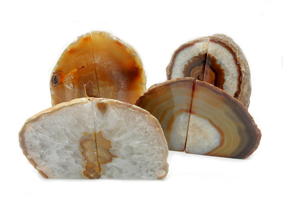 Fire Red - Orange Agate Geode Bookend Natural Agate Bookend Pair - 1 to 3 lbs.