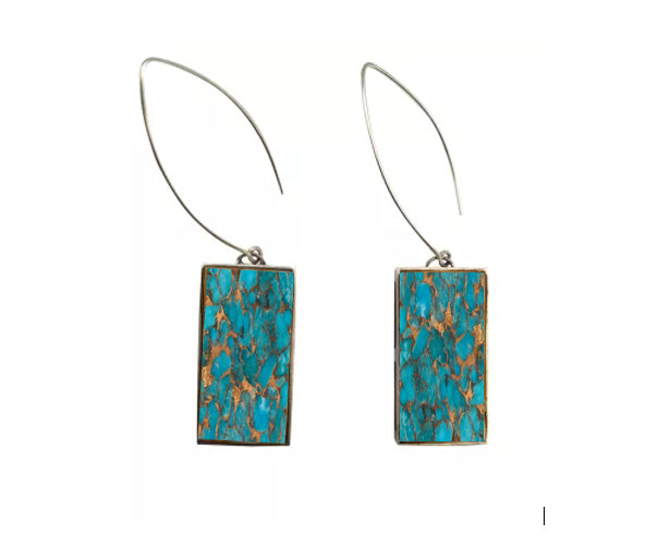 Peacock Collection - Metal Matrix Turquoise Earrings