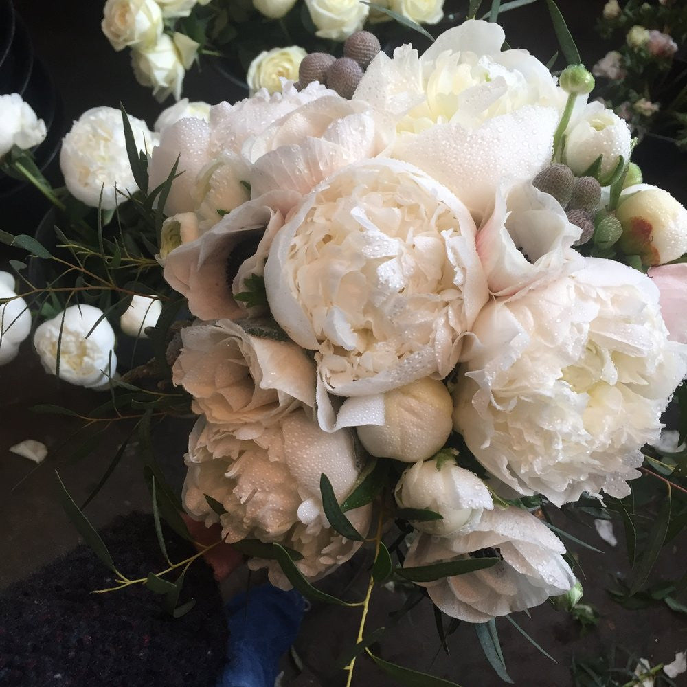 White Peony bouquet by brother and sister flowers