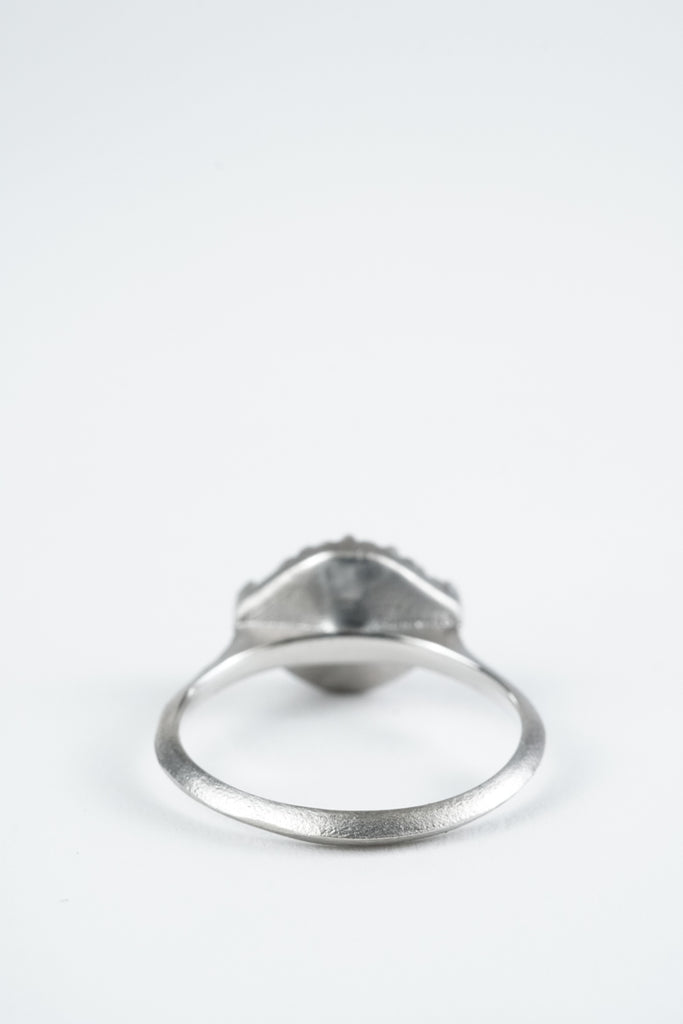 Platinum and all white diamond meadow ring by Oakland based Kate Ellen