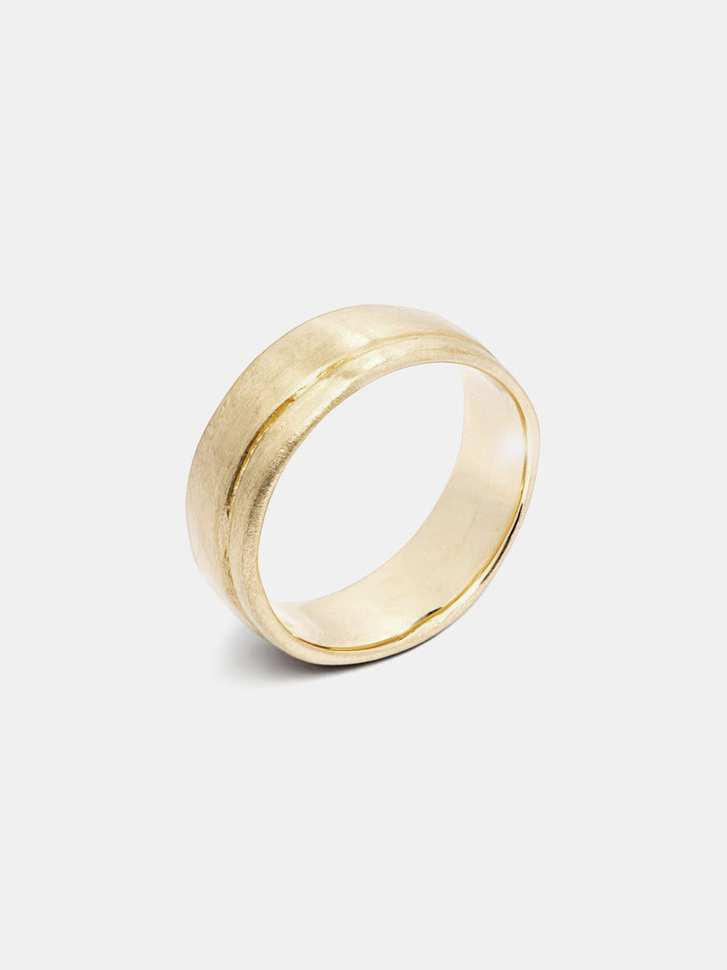 Agave Band in 14k yellow gold with organic texture and signature matte finish.