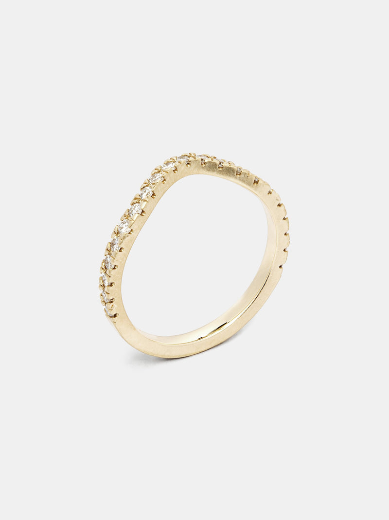 Arbor Pave Arching Half Eternity Band with 1.5mm recycled diamonds in 14k yellow gold and signature matte finish.