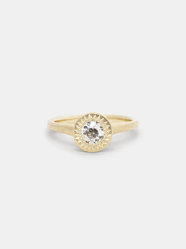 Shown: 0.5ct near colorless antique diamond in 14k yellow gold with organic texture and signature matte finish.