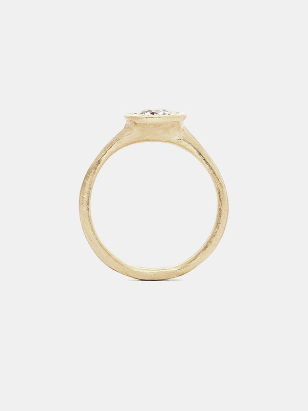 Celestial Solitaire with 0.5ct near colorless antique diamond in 14k yellow gold with organic texture and signature matte finish.