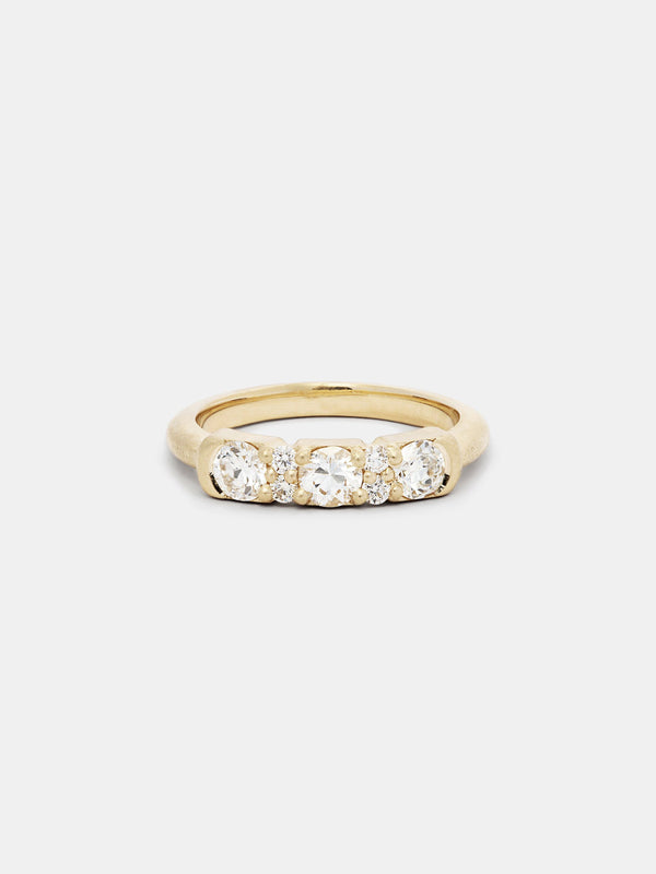 Shown: near colorless diamonds in 14k yellow gold with signature matte finish.