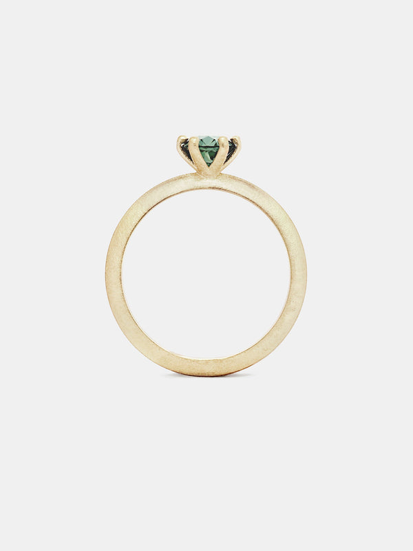 Classic Solitaire- Sapphire with 0.75ct viridian Montana sapphire in 14k yellow gold with organic texture and signature matte finish.