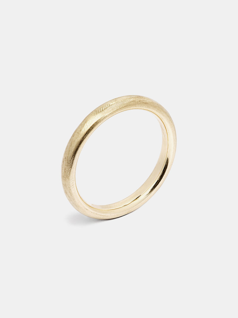 Clover Heavy Band in 14k yellow gold with organic texture and signature matte finish.