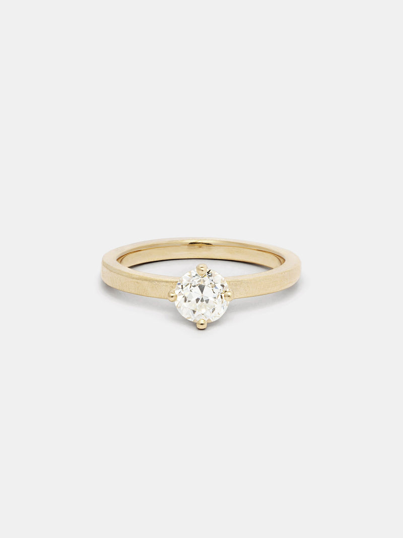 Shown: 0.75ct near colorless antique diamond in 14k yellow gold with organic texture and signature matte finish.