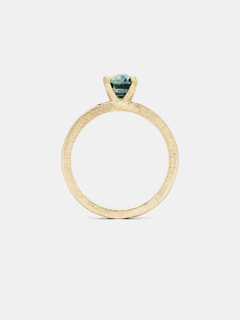 Dianthus Cushion Solitaire- Sapphire with 1ct viridian Montana sapphire in 14k yellow gold with recycled diamond pave accents and organic texture with signature matte finish.