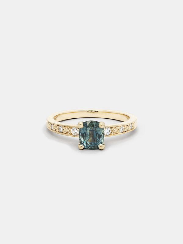 Shown: 1ct viridian Montana sapphire in 14k yellow gold with organic texture and signature matte finish.