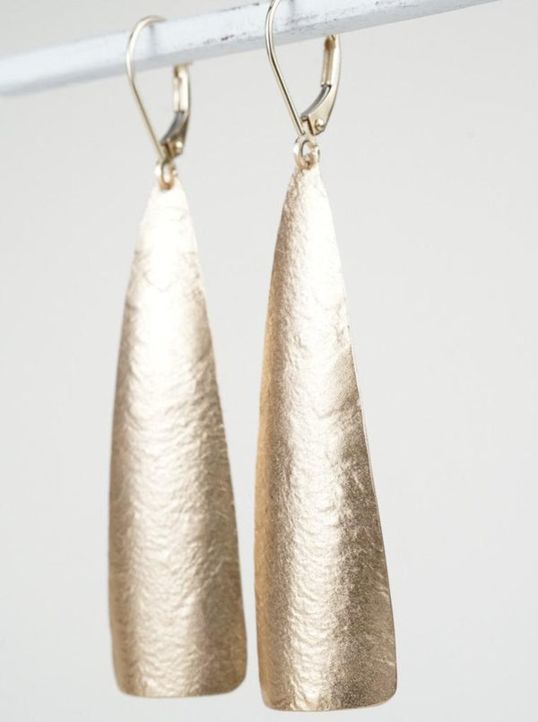 14k Yellow Gold Fan Earrings - Crown Nine Jewelry Oakland