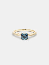 Shown: 1ct teal Montana sapphire in 14k yellow gold with smooth texture and signature matte finish.