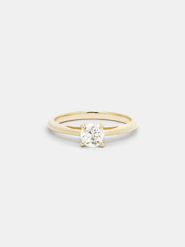 Shown: 0.75ct near colorless antique diamond in 14k yellow gold with smooth texture and signature matte finish.