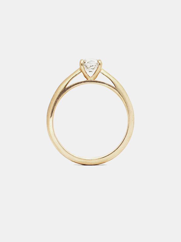 Gardenia Solitaire with 0.75ct near colorless antique diamond in 14k yellow gold with smooth texture and signature matte finish.