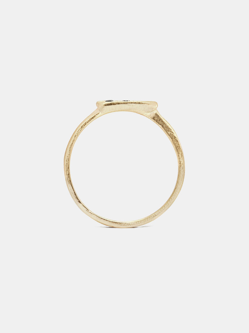 Hana Ring- Black Diamond with three 1.5mm black diamonds in 14k yellow gold with organic texture and signature matte finish.