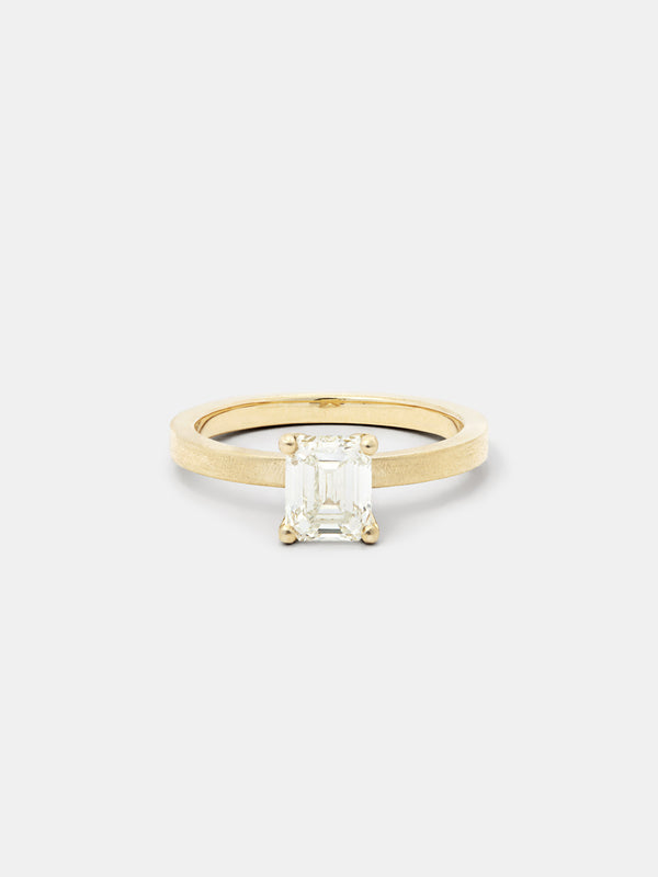 Shown: 1ct faint color diamond set in 14k yellow gold with smooth texture and signature matte finish.