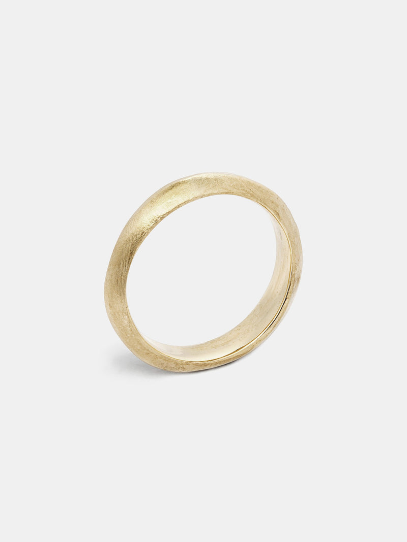 Knife Band- 5mm in 14k yellow gold with organic texture and signature matte finish.