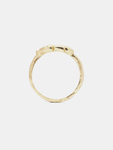 Laure Ring in 14k yellow gold with eight 1.6mm recycled diamonds and organic texture with signature matte finish.
